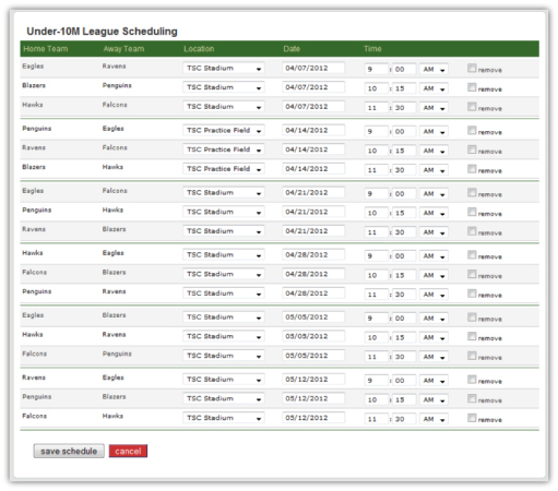Our League Management Solution includes our automated league schedule generator - a quick and easy way to build your game schedules